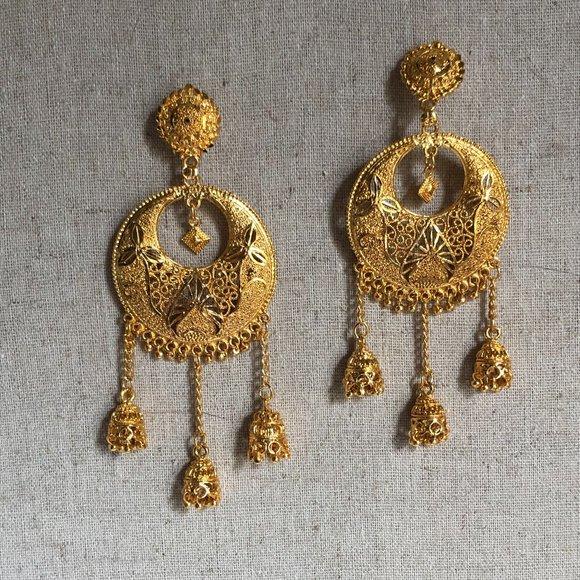 Indian Meenakari Bohemian Gold Round Earrings